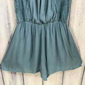 Taylor & Sage Shorts - Taylor & Sage Lace Romper with Shorts Lined Blue